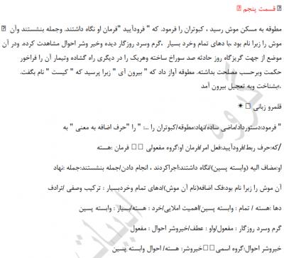نمونه 2 - معنی درس پانزدهم فارسی یازدهم -کبوتر طوق دار